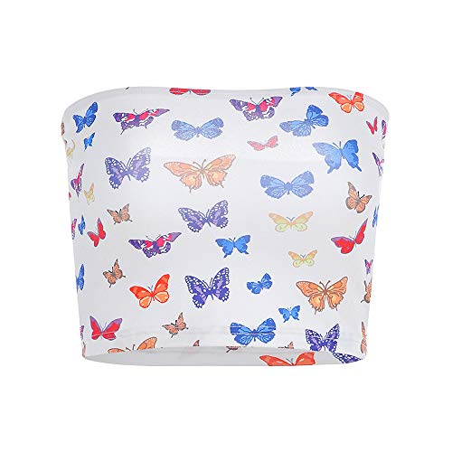 Women Butterfly Printed Strapless Boob Tube Tops Casual White Crop Top (M, -