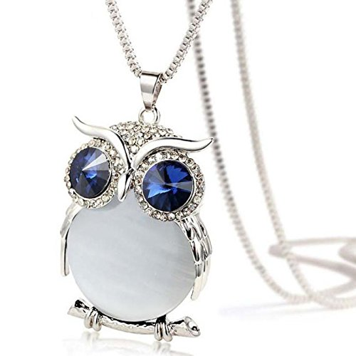 Haluoo_Jewelry Owl Pendant Necklace,Haluoo Women Fashion Rhinestone Owl Pendant Necklace Colorful Crystal Pendant Necklace for Girls Chic Diamond Long Sweater Chain Necklace 30″ Chain Length (White)