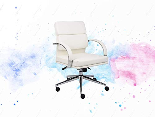 (GUPLUS-Executive Series Chair, 250 lb, White/Chrome Executive Mid Back Styling Upholstered Breathable caressoft Plus Metal Chrome Plated 27-inch Base and arms Spring tilt Mechanism, which can be)