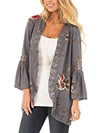 Womens Floral Loose Bell Sleeve Kimono Cardigan Lace Patchwork Cover up Blouse Top