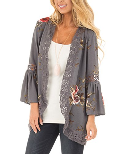 Floral Puff Sleeve Top - Womens Floral Loose Bell Sleeve Kimono Cardigan Lace Patchwork Cover Up Blouse Top (M, Gray)