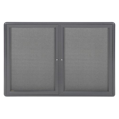 Ghent 34'' x 47'' 2-Door Ovation Fabric Bulletin Board, Gray Frame (OVG2-F91) by Ghent