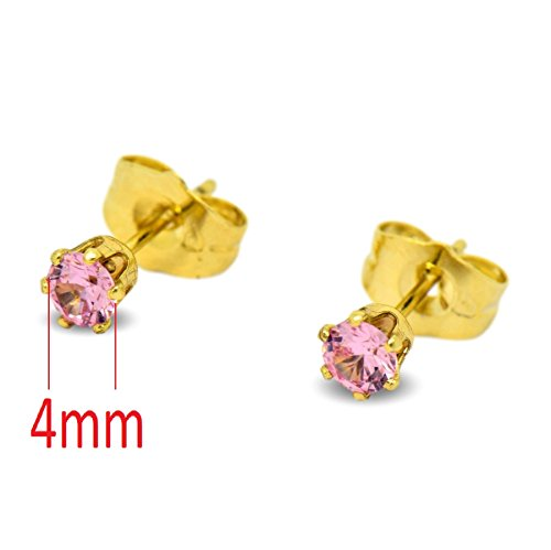 Blue Diamond Club - Tiny 9ct Yellow Gold Filled Womens Stud Earrings Girls Round Small 4mm Pink Crystals 6 Claws JMiuenV1y
