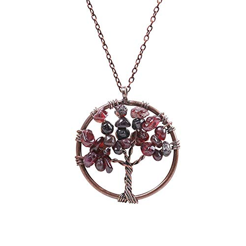 Tree of Life Teardrop Necklace Pendant Natural Waterdrop Crystal Gemstone Necklace Choker Copper Wire Wrapped Energy Healing Jewelry for Women Girls(Garnet)