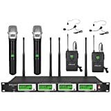 GTD Audio 4x800 Selectable Frequency Channels UHF Diversity Wireless Hand-held/Lavalier/Lapel/Headset Microphone Mic System 7