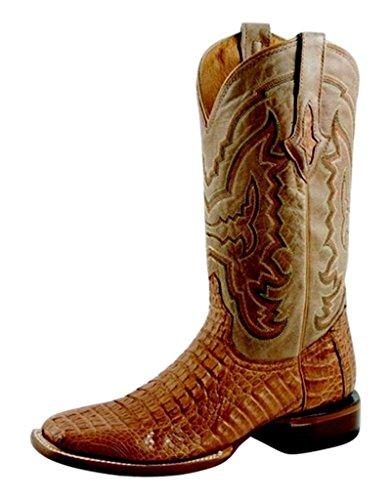 Hornback Caiman Cowboy Boots - Lucchese Men's Handcrafted 1883 Hornback Caiman Cowboy Boot Square Toe Tan 11 D(M) US