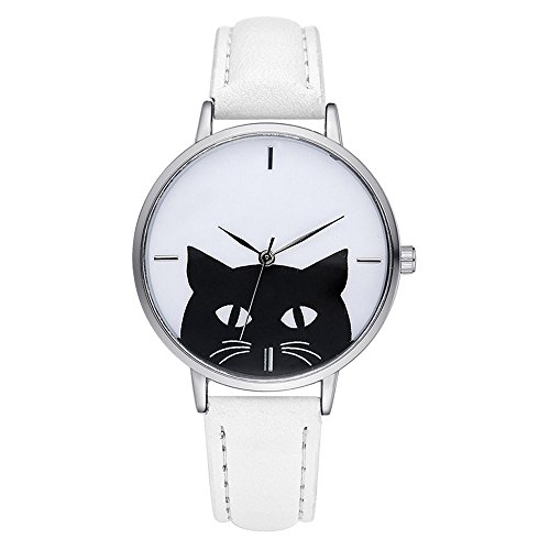 Simple Cute Animal Black Cat PU Leather Strap Men Women Teenagers Kids Children Wrist - Store Best Me Near Glasses