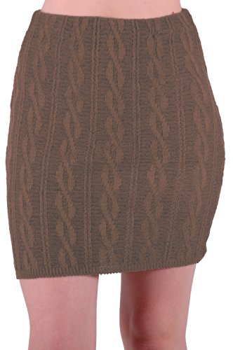 EyeCatch - Jupe stretch en lainage tress - Femme - Taille Unique Taupe