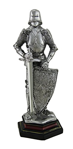 Zeckos Medieval Knight in Armor Standing Holding Sword and Shield Statue 9 Inch (Best Armor In History)