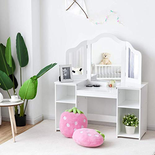 Costzon Kids Vanity Table, 2 in 1 Detachable Design with Dressing Dable and Writing Desk, Makeup Dressing Table with Four Storage Shelves Two Folding Mirrors Children Girls, White (Dressing Set Table White Childrens)