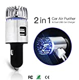 Appliances : Exemplife Car Air Purifier, Freshener Adapter with 2 USB Ports,Car Air Ionizer Remove Smoke, Bad Smell and Odors,Keep The Air in Car Fresh,Silver…