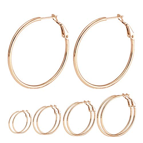 Calors Vitton 4 Pairs Surgical Stainless Steel Hypoallergenic Round Hoop Earrings Set for Women 30-60MM Gold 4 ()