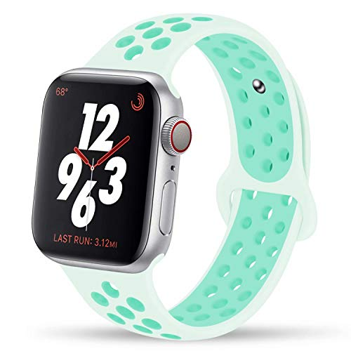 YC YANCH Greatou Compatible for Apple Watch Band 38mm 40mm,Silicone Sport Band Replacement Wristband Compatible for iWatch Apple Watch Series 4/3/2/1,Nike+,Sport,Edition,M/L,Teal Tint Tropical Twist ()