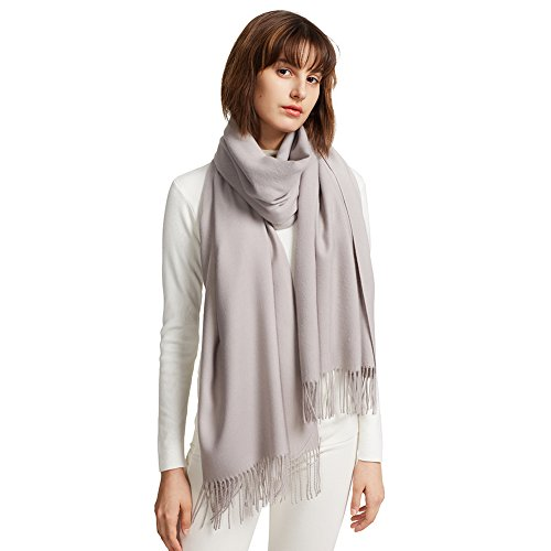 Shawl Neck (MaaMgic Womens Large Soft Cashmere Feel Pashmina Shawls Wraps Light Scarf, Silver Gray)