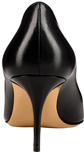 Calaier Femme Caas Bout Pointu 7cm Stiletto Slip-on Pumps Chaussures Noir B