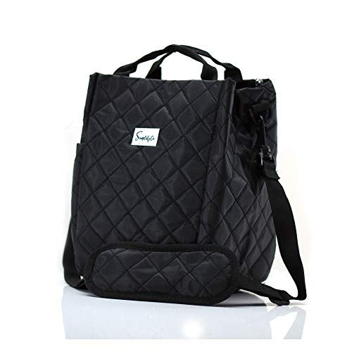 Simplily Co. Insulated Lunch Bag with Shoulder Strap and Drink Side Pocket, Black Quilted (9 inches tall)