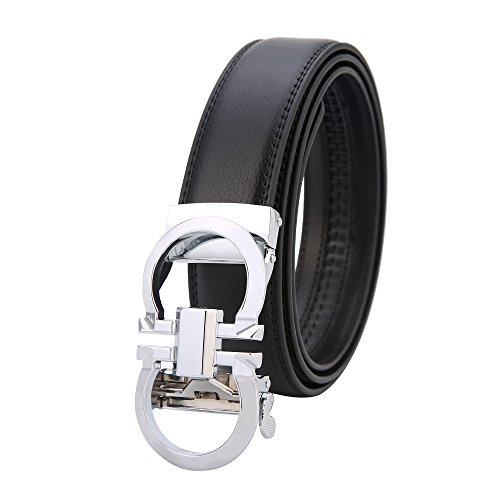 Mens Genuine Leather Rachet Dress Belt Comfort Click on Automatic Gold Or Silver Buckle Belt 35mm (Silver, ()