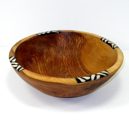 Inlaid Bone (Handcarved Olive Wood Bowl 9 inch with Inlaid)