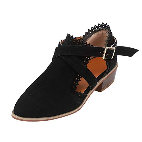 Sunmoot Suede Ankle Booties Women Solid Buckle Strap Pointed Toe Square Heel Single Shoes -