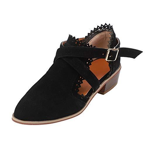 Mujeres Correa Las Negro Botines Shoes Munich De Pure Ponited Tiempo Tacon Hebilla ALIKEEY Zapatos Color Toe Sola Cuadrado 65qdTTnw