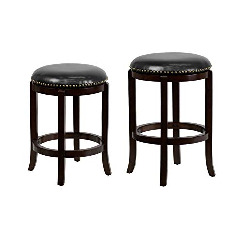 Flash Furniture 24'' High Backless Cappuccino Wood Counter Height Stool and 29'' High Backless Cappuccino Wood Barstool with Black Leather Swivel Seat