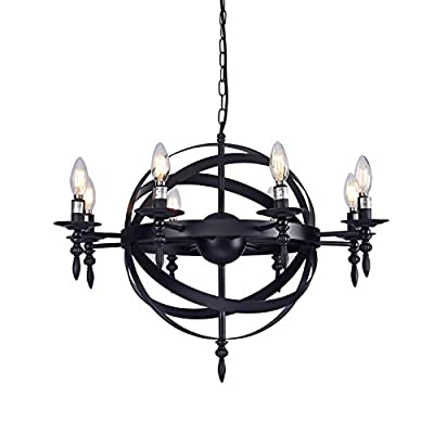 """Raekor 16"""" Industrial Metal Iron Frame Wide Round Candle Chandelier Ceiling Light 6-Bulbs Lighting Fixture, Matte Black Finish, UL Certificated"""