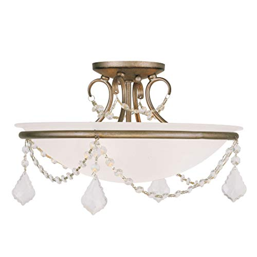 Livex Lighting 6524-73 Chesterfield/Pennington 3 Light Ceiling Mount, Hand Painted Antique Silver Leaf
