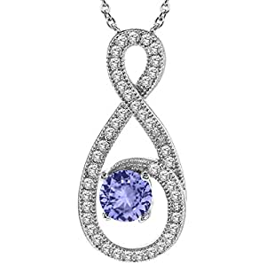 """1.06 Ct Round Blue Tanzanite 925 Sterling Silver Pendant With 18"""" Silver Chain"""