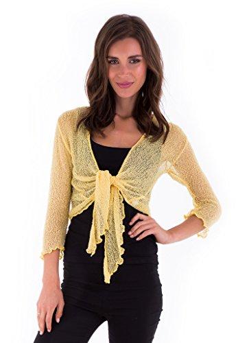 (SHU-SHI Womens Sheer Shrug Tie Top Cardigan Lightweight Knit,Lemon Yellow,One Size)
