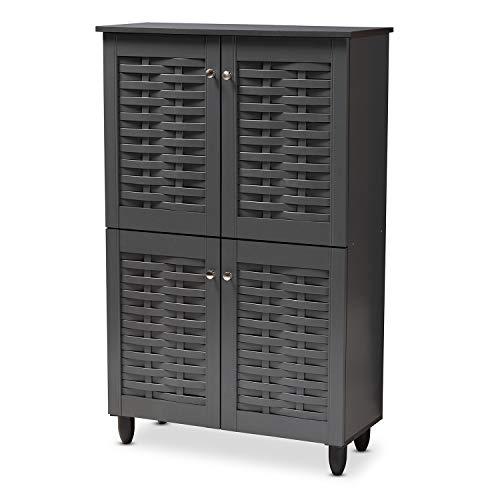 Baxton Studio 152-9168-AMZ Shoe Cabinets, One Size, Dark Gray