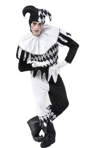 Harlequin Jester Black u0026 White Male Fancy Dress Costume  sc 1 st  Amazon UK & Harlequin Jester Black u0026 White Male Fancy Dress Costume: Amazon.co ...