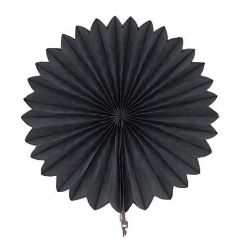 VDV Artificial Flowers Decorative Wedding Party Paper Crafts 4''-12'' Paper Fans DIY Hanging Tissue Paper Flower for Wedding Birthday Party Festival Coaind Artificial Flowers-PF27 Black