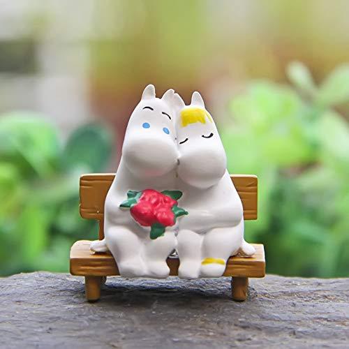 ForteGlo Hippos Figure - 1set Hippos Figure Tamus Bench Couple Anima DIY FigureToy Micro Garden Landscape Decoration Props Children Toy 1 PCs