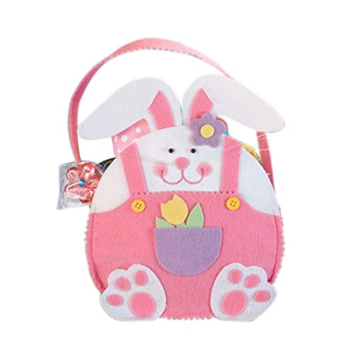 Easter Basket, Bunny Rabbit Bags for Easter Gift Candy By Coerni (Pink)