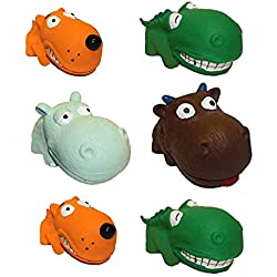 """(6 Pack) Multipet Squeaky 3"""" Mini Latex Animal with Big Head Dog Toy, Assorted"""