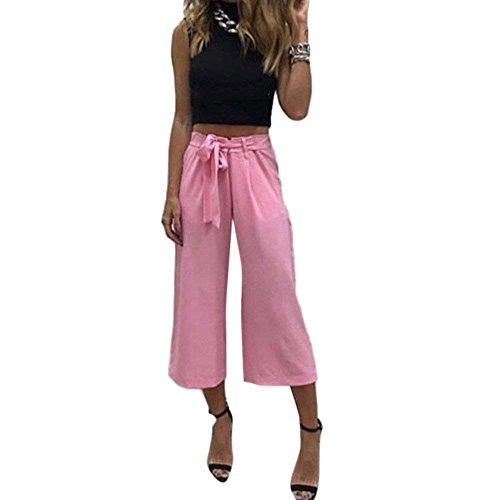 Printemps En Casual Mode Battercake Droit Manche Ceinture Noir Pantalons 7 Dame Tendance 8 Large Uni Pantalon Eté Bouffant Elégante Confortable Trousers Tissu Longues ZqqwX