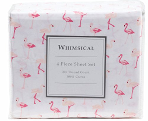 Elite Home Products, Inc. Whimsical Print 300 Thread Count Cotton Sheet Set Pink 4 Piece Queen