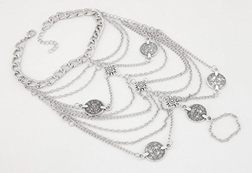 Miss Mara Bohemian Vintage Silver Coins Anklet Foot Jewelry Barefoot Sandal Anklet Chain (Silver) by Ms.Mara (Image #2)