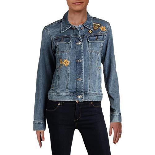 LAUREN RALPH LAUREN Womens Susan Spring Embroidered Denim Jacket Blue 18