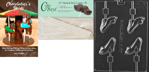 Cybrtrayd 'High Heel Shoe Lolly' Dads and Moms Chocolate Candy Mold with 25 4.5-Inch Lollipop Sticks and Chocolatier's Guide