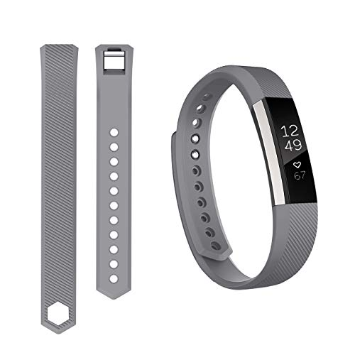 Keasy Replacement Bands Compatible for Fitbit Alta and Fitbit Alta HR, Sport Bands with Secure Metal Buckle(Gray-1,Large(6.7