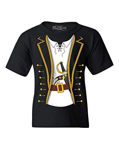 Shop4Ever Pirate Buccaneer Costume Youth's T-Shirt Youth X-Large Black 0]()