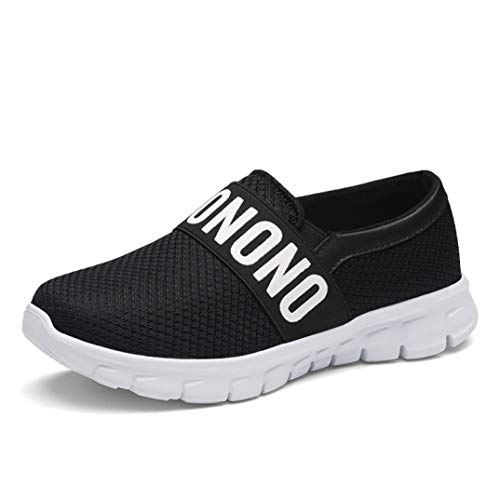 (Fay Waters Women's Casual Walking Shoes Breathable Mesh Work Slip-on Sneakers Lightweight Running Shoe Black)