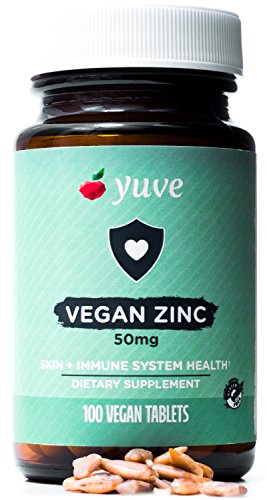 Yuve Vegan Natural Zinc Supplement - Boosts Your Immune System - Fast Relief from Colds and Flu - Clear & Healthy Skin - Healthy Hormone Levels - Non-GMO, Gluten Free, Sugar Free - 100 Vegetarian Tabs
