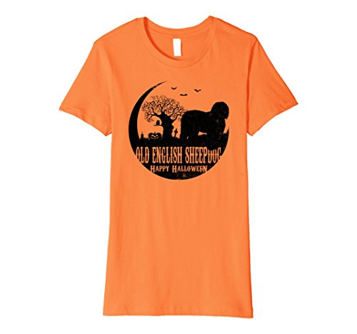 Womens OLD ENGLISH SHEEPDOG Dog Halloween Costume T-shirts XL Orange (Old Lady Costume With Dog)
