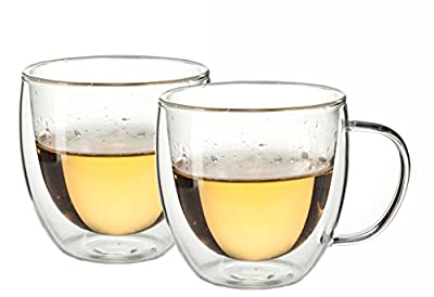 Double Wall Insulated Coffee or Tea Glass Cup – Set of 2 Thermo Glasses
