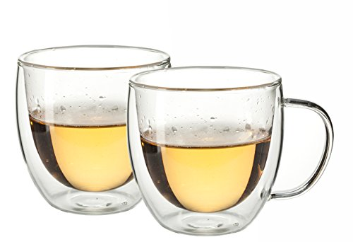 Eravino 5.4oz/160ml Double Wall Insulated Coffee or Tea Glass Cup - Set of 2 Thermo Glasses (160ml) 2 Cup Tea Set