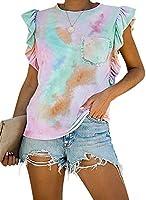 Lovezesent Womens Summer Sleeveless Casual Camo T Shirts Ruffle Tank Tops