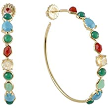 Ippolita Rock Candy Large 18K Yellow Gold Multi-Colored Stones Hoop Earrings