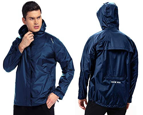 NICEWIN Portable Front Zip Rain Jacket-Pocket Size Breathable Hooded Pullover Raincoat Poncho for Men and Women Blue XL